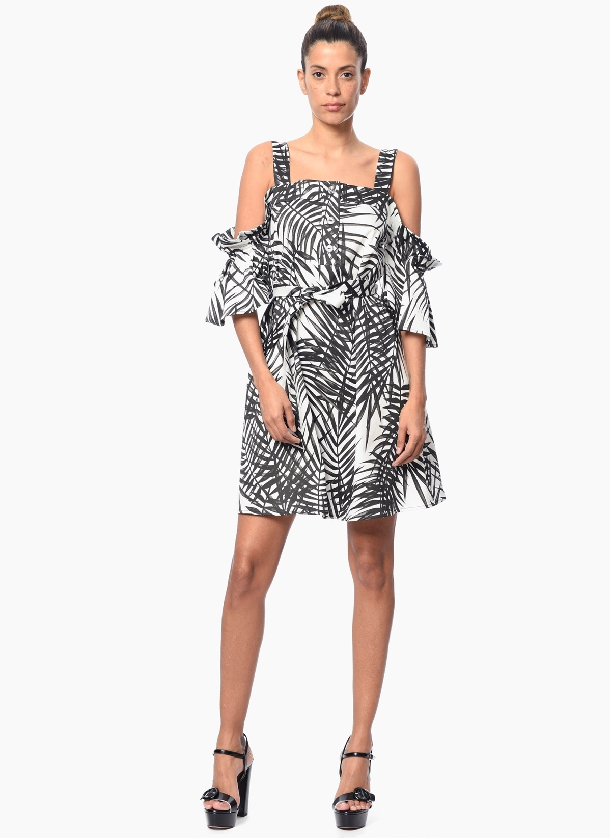 c3011fff949a1 NetWork Kadın Kayık Yaka Askılı Mini Elbise Siyah Beyaz | Morhipo ...